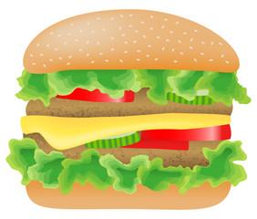 Hamburger mit Salat, Fleisch, Tomate, Gurke und Käse