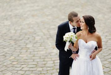 Young wedding caucasian couple.