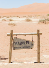 Sign of the Deadvlei (Sossusvlei), the famous red dunes of Namib