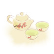 Traditional oriental teapot and cups with plum blossom ornament