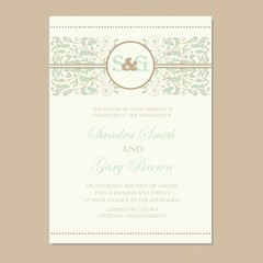 Floral wedding invitation card. Vector illustration