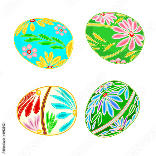 Easter egg multicolored floral pattern