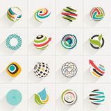 Fototapety Set of globe web icons and vector logos in stylish colors