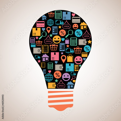 Online shopping creative light bulb