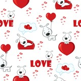 Cute background with dogs for Valentine's Day, seamless pattern