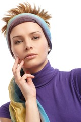 Portrait of trendy woman with hairband