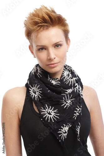 Portrait of gingerish woman with trendy hairstyle