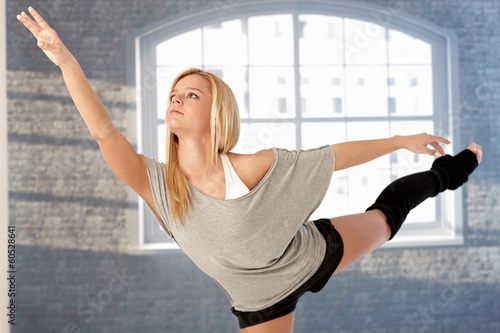 Pretty dancer practicing