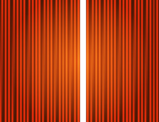 Curtain orange closed with light spots