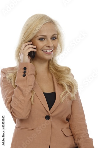 Attractive blonde on mobile