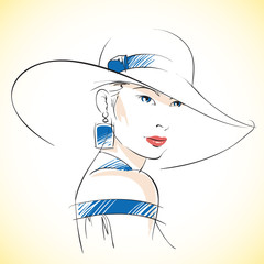 Fashion sketch of beautiful young female