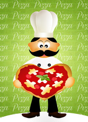 chef with heart pizza