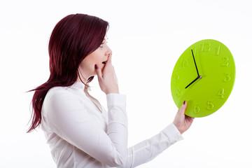 Woman with big clock