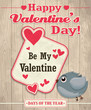 Vintage Valentine poster design with bird