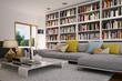 Wohnzimmer mit sofa und bücherregal - bookshelf in apartment