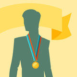Silhouette of man with premium medal.