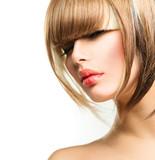 Fototapety Beautiful Fashion Woman Hairstyle for Short Hair. Fringe Haircut
