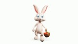 Easter happy bunny walking with color eggs basket