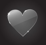Glass transparent heart on the black background vector