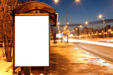 Fototapety Blank sign at bus stop in evening city
