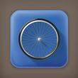 Bicycle wheel, long shadow vector icon