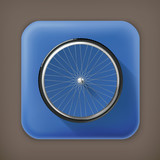 Bicycle wheel, long shadow vector icon