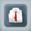 White Dress shirt, long shadow vector icon