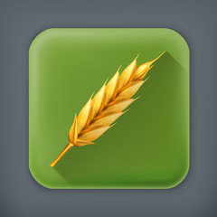 Wheat, long shadow vector icon