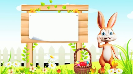 Easter happy bunny with eggs basket and sign