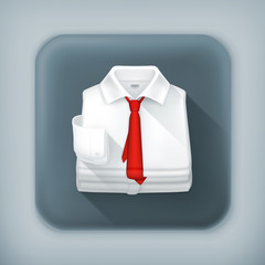 White Dress shirt, long shadow vector icon