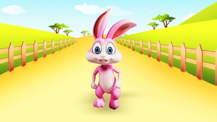 Easter happy bunny with walking