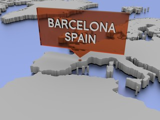 3d world map illustration - Barcelona