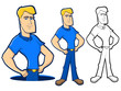 Collection of poses for a plumber or mechanic worker
