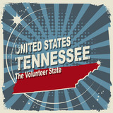 Abstract label with name and map of Tennessee, vector