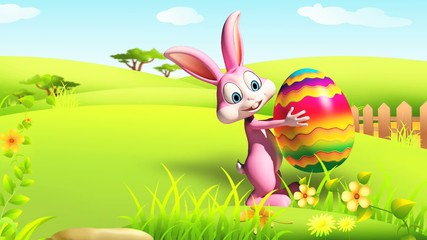 Easter happy bunny walking with color eggs