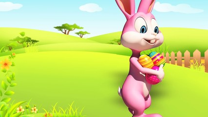 Easter happy bunny walk with color eggs