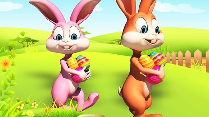 Easter happy bunny with color eggs