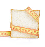 Piece of bread grasped by measuring tape= poster