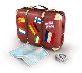 old suitcase with world map and compass on white background