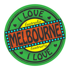 Grunge color stamp with text I Love Melbourne inside
