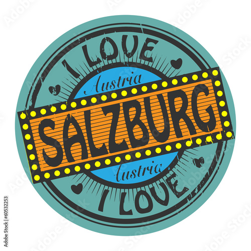 Grunge color stamp with text I Love Salzburg inside