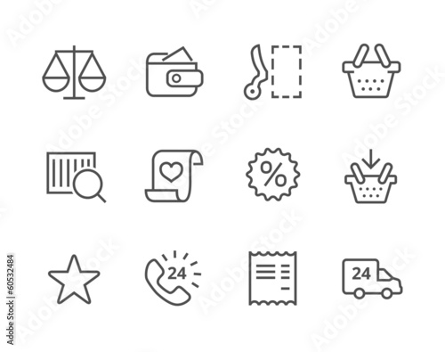 Thin line Shopping icons set.