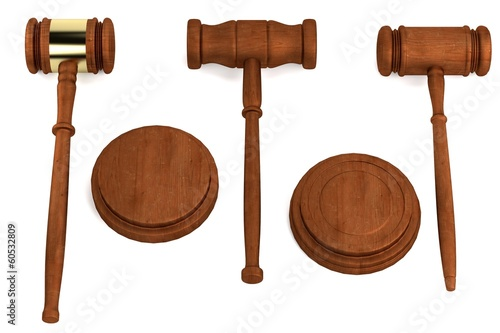 realistic 3d render of gavels