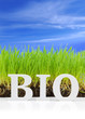 "Word ""Bio"" with fresh grass and blue sky"