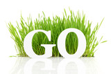 Go green with text and grass isolated on white