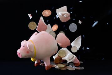 Photo of exploding piggy bank, concept photo finance