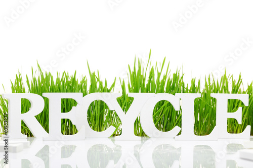 "Word ""Recycle"" with fresh grass isolated on white"