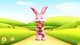 Happy bunny with color egg and walking