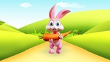 Easter bunny with big carrot and walkind