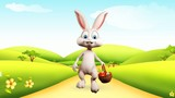 Easter happy bunny with eggs basket and walk